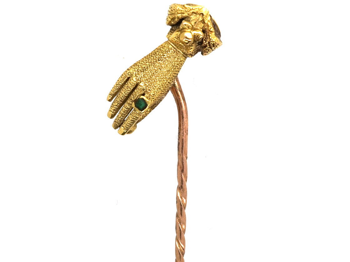 Georgian 15ct Gold Hand Tie Pin Set With an Emerald