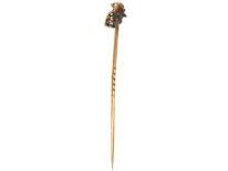 Edwardian 15ct Gold, Red Enamel & Diamond Cockerel Tie Pin