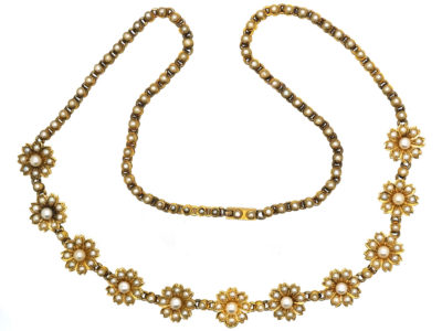 Victorian 18ct Gold Natural Split Pearl Flower Necklace