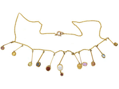 Edwardian 15ct Gold Gem Set Harlequin Necklace