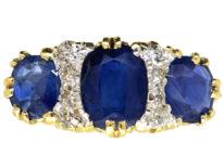Victorian 18ct Gold, Three Stone Sapphire & Diamond Carved Half Hoop Ring