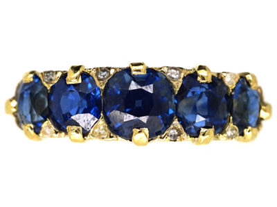 Victorian 18ct Gold Five Stone Sapphire Carved Half Hoop Ring