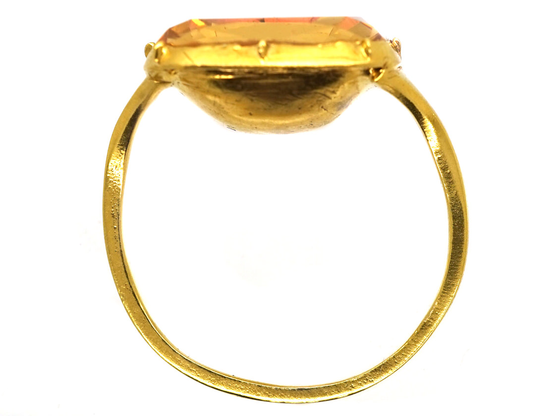 Georgian 18ct Gold Foiled Topaz Ring