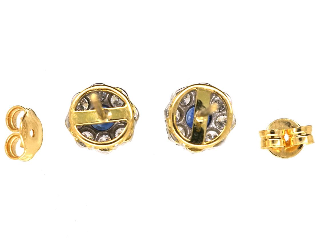 18ct White Gold Sapphire & Diamond Cluster Earrings