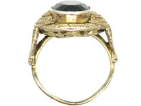 Art Deco Silver Gilt & Green Paste Ring Attributed to Theodor Fahrner