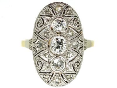 Art Deco 14ct Gold & Platinum Oval Diamond Set Ring