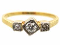 Art Deco 18ct Gold, Platinum & Three Stone Diamond Ring