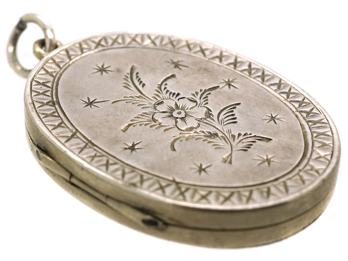 Victorian Oval Silver Engraved Locket