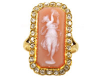 Victorian Diamond & Carved Carnelian Ring of a Dancing Muse