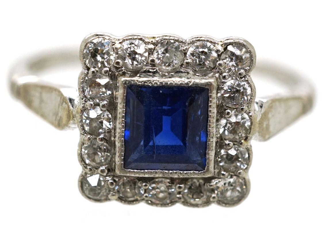 Art Deco 18ct White Gold, Platinum, Sapphire & Diamond Square Ring