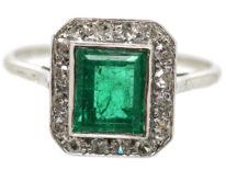 Art Deco 18ct White Gold, Emerald & Diamond Rectangular Ring
