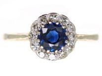 Edwardian 18ct Gold, Platinum & Sapphire & Diamond Cluster Ring