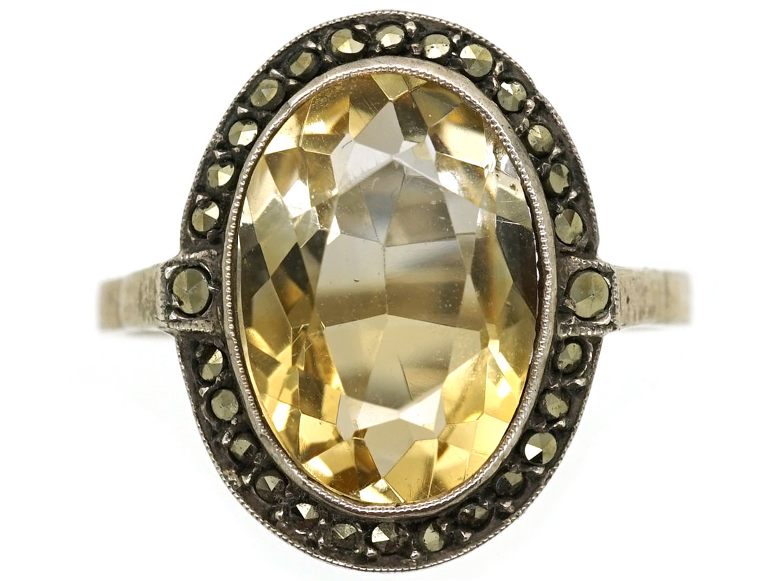 Silver, Marcasite & Citrine Oval Ring