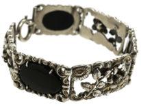 Silver & Onyx Bracelet With Flower Motif