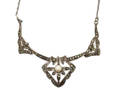 Art Deco Silver, Marcasite & Pearl Necklace