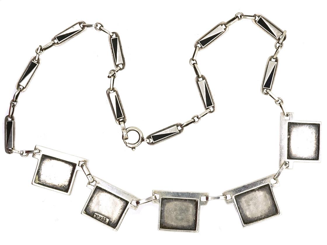 Theodor Fahrner Silver & Enamel Art Deco Necklace