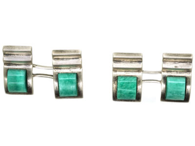 Art Deco Silver & Amazonite Cufflinks