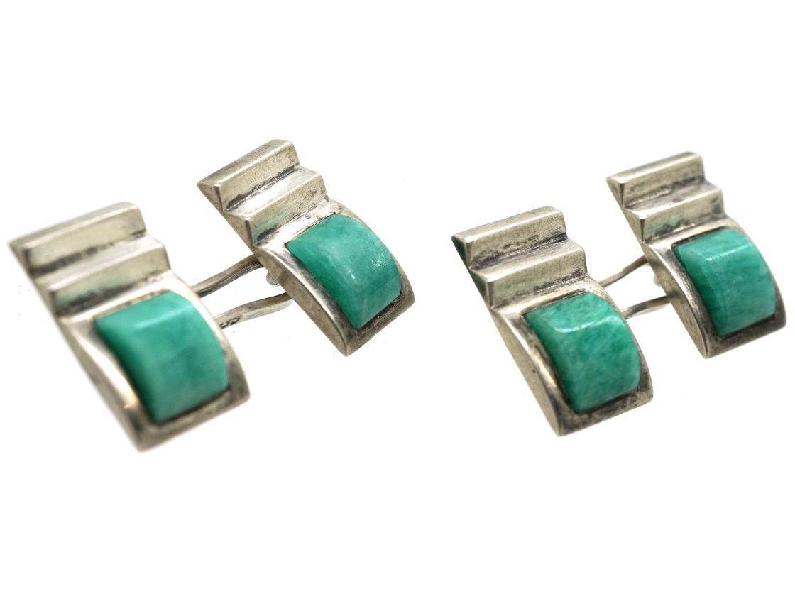 Art Deco Silver & Amazonite Cufflinks