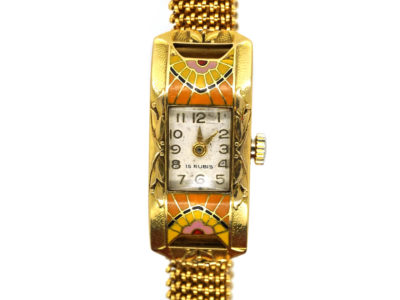 Art Deco 18ct Gold & Enamel Watch on Mesh Strap
