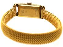 Art Deco 18ct Gold & Enamel Watch on Mesh Strap