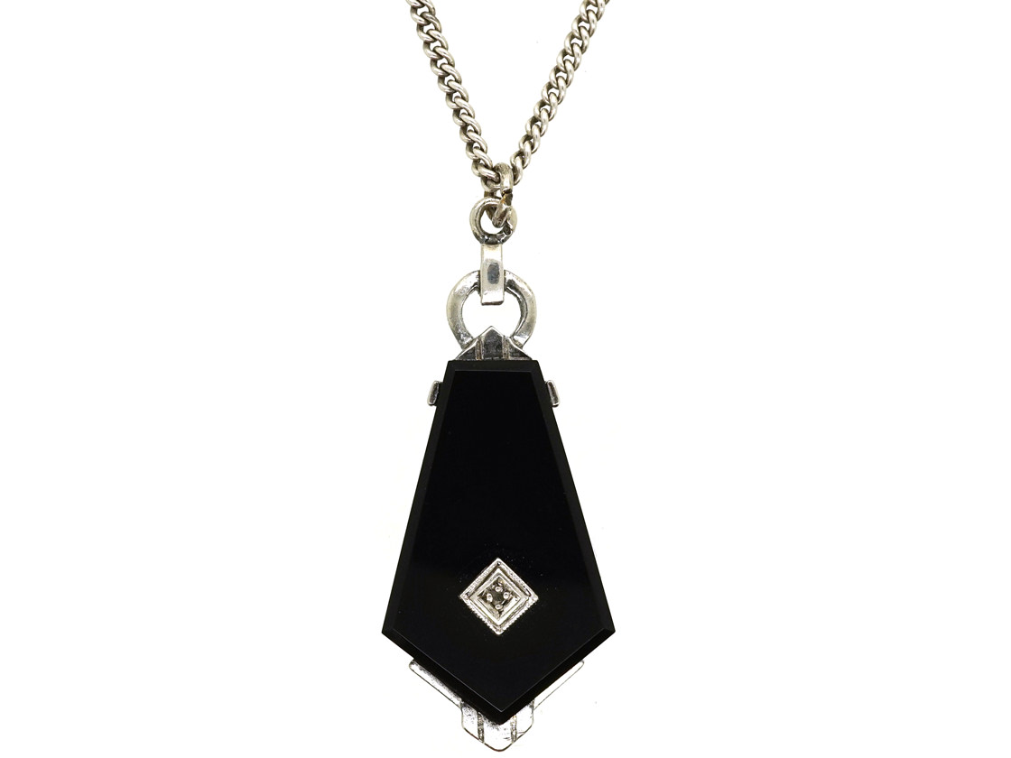 Art Deco Onyx & Diamond Pendant on Silver Chain