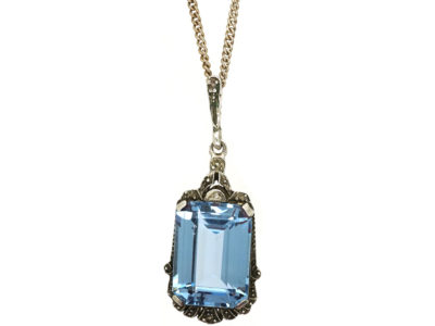 Art Deco Silver & Synthetic Blue Spinel Pendant on Silver Chain