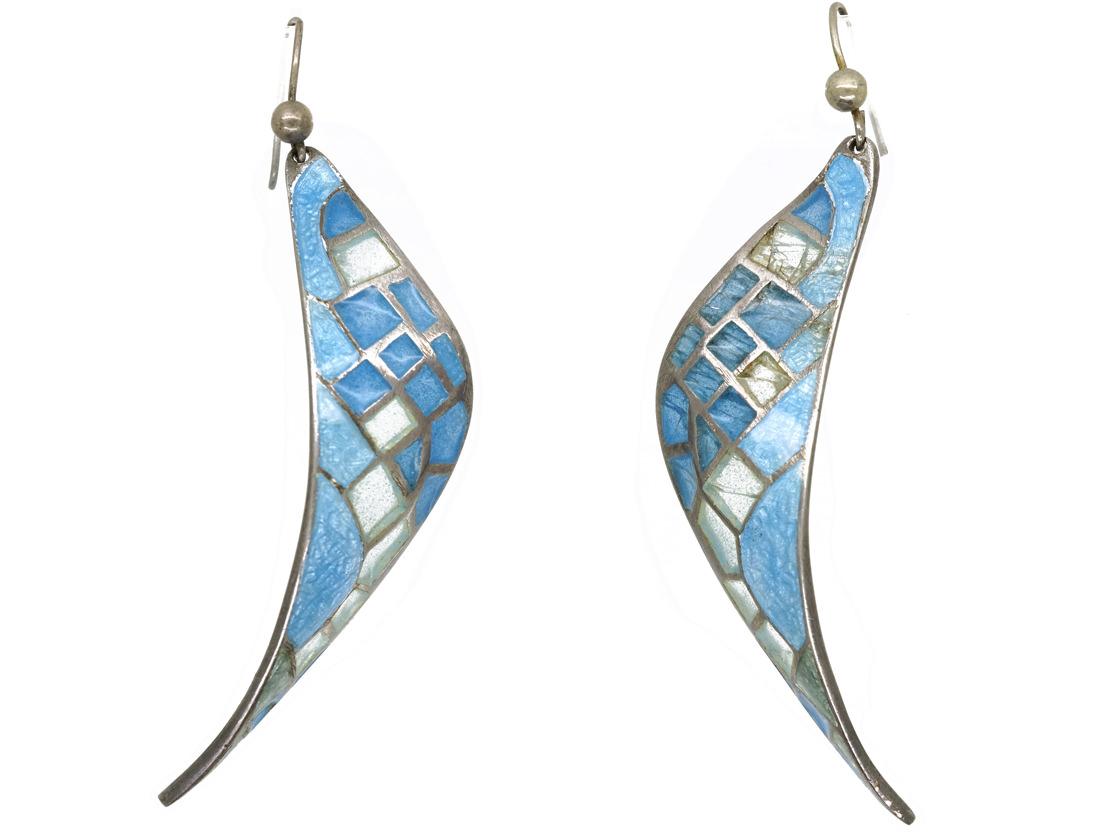 Silver & Blue & Grey Plique-à-Jour Enamel Earrings