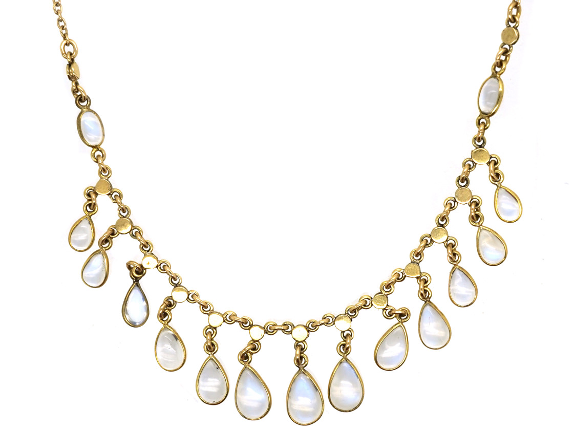 14ct Gold & Moonstone Drops Necklace