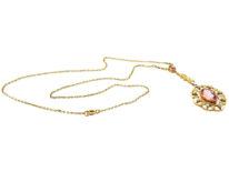 Edwardian 15ct Gold, Pink Tourmaline & natural Split Pearls Pendant