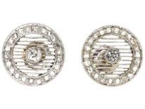 Art Deco Platinum & Diamond Round Earrings