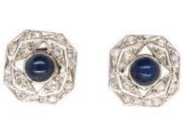 Art Deco Platinum, Cabochon Sapphire & Diamond Octagonal Earrings