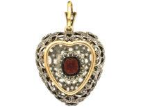 Edwardian Platinum, Garnet & Rose Diamond Studded Heart Pendant With Locket Back in Original Case