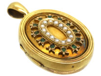 Victorian 15ct Gold Oval Locket Set With Emeralds & Natural Split Pearls