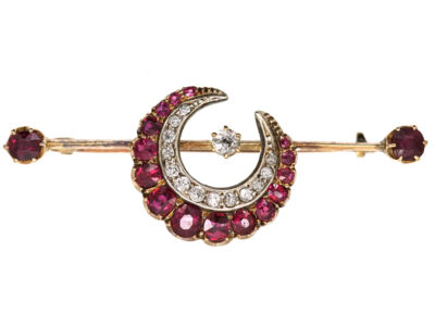 Victorian Ruby & Diamond Crescent Brooch