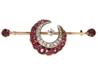 Victorian Ruby & Diamond Crescent Brooch