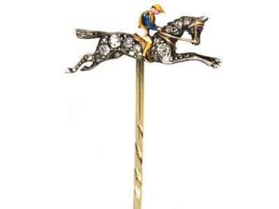 Edwardian Rose Diamond & Enamel Racehorse & Jockey Tie Pin