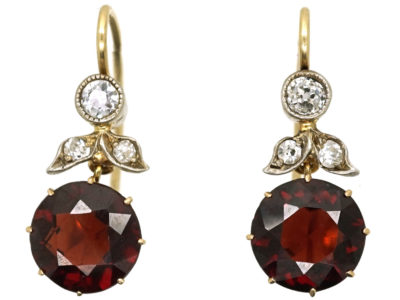 Edwardian Garnet & Diamond Drop Earrings