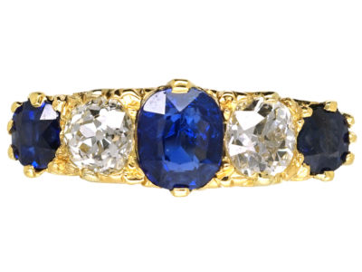 Edwardian 18ct Gold , Burma Sapphire & Diamond Five Stone Carved Half Hoop Ring