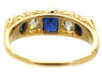 Edwardian 18ct Gold , Burma Sapphire & Diamond Five Stone Carved Half Hoop Ring