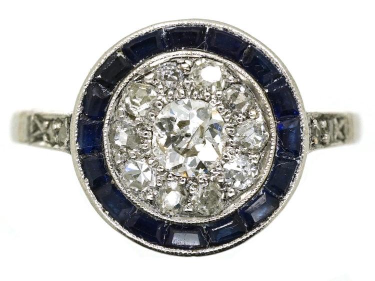 Art Deco Platinum Target Ring Set With Diamonds & Sapphires