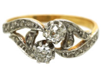 French 18ct Gold Two Stone Diamond Twist Ring With Rose Diamond Shoulders