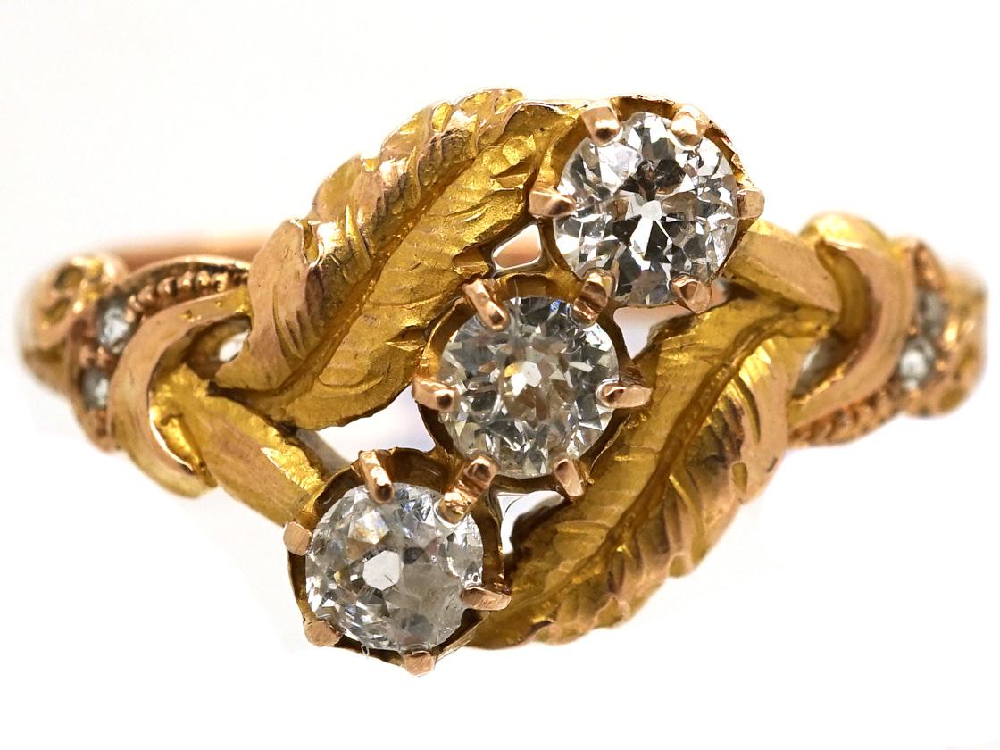 Art Nouveau 18ct Gold Leaves & Diamonds Ring