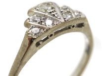 Art Deco Platinum & Diamond Fan Shaped Ring