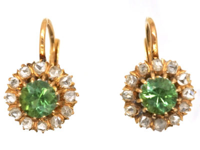 Edwardian 18ct Gold, Peridot & Rose Diamond Earrings