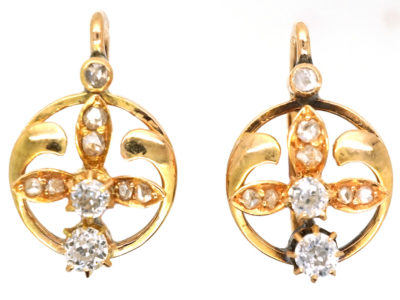Edwardian 18ct Gold & Diamond Three Petal Flower Earrings