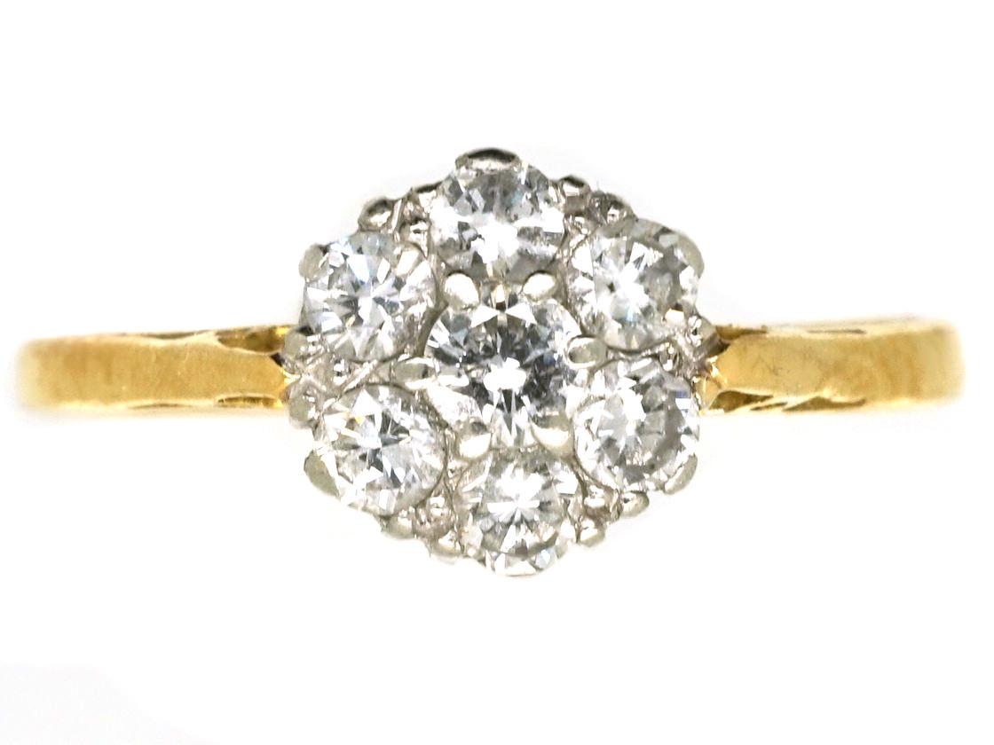 18ct Gold, Platinum & Diamond Daisy Cluster Ring