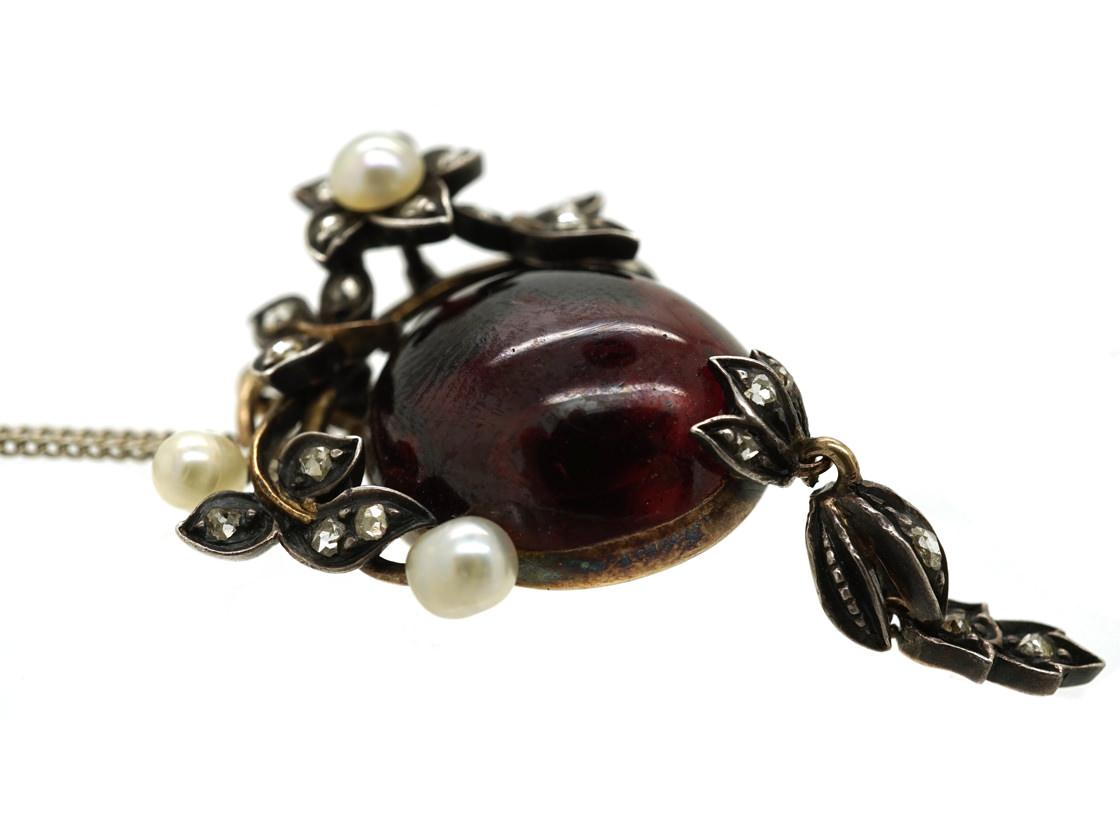 Victorian Cabochon Garnet, Natural Pearl & Rose Diamond Pendant on Chain