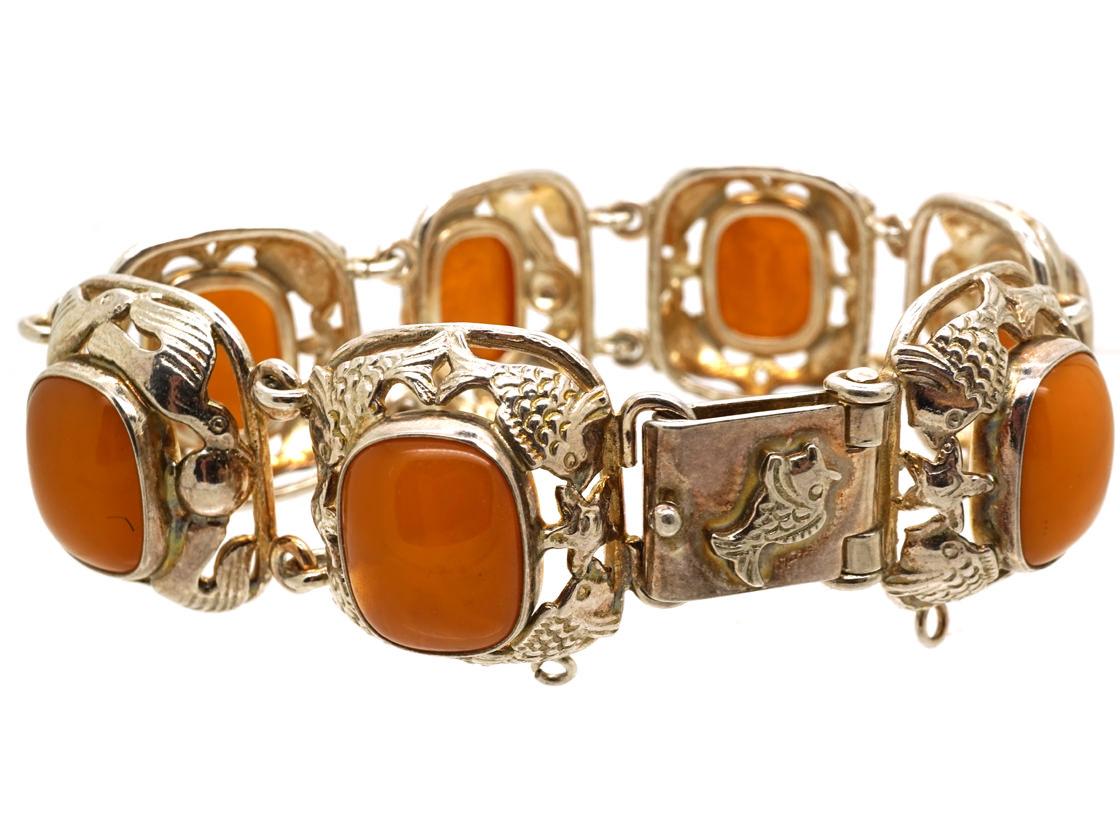 Silver Fishes & Amber Bracelet