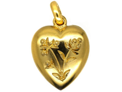 Edwardian 15ct Gold Heart Pendant With Applied Gold Flowers