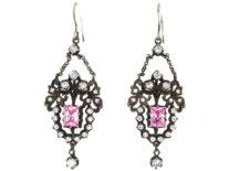 Edwardian Silver, Pink & White Paste Drop Earrings